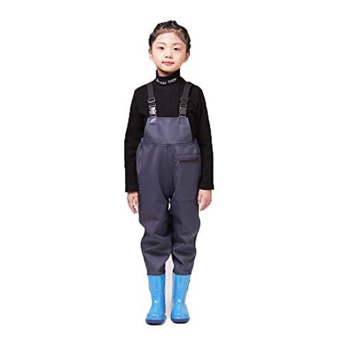 DIVAND Kinder Hohe Taille Waders Nylon/PVC Jugend Anglerhose Jagdstiefel für Kleinkinder & Kinder wasserdichte Wathose mit Bootfoot & Verstellbarer Schultergurt,Blau,36