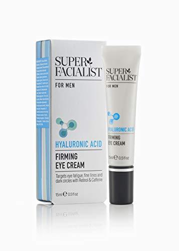 Super Facialist for Men Crème pour les yeux raffermissante 15ml Acide hyaluronique hydratant, Caféine & Rétinol minimise les signes de fatigue oculaire. Cible les rides et ridules, les poches et les cernes.