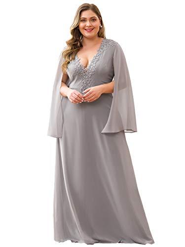 Ever-Pretty Vestiti da Damigella Elegante Taglie Forti Chiffon Scollo a V Linea ad A con Appliques Donna Grigio 52
