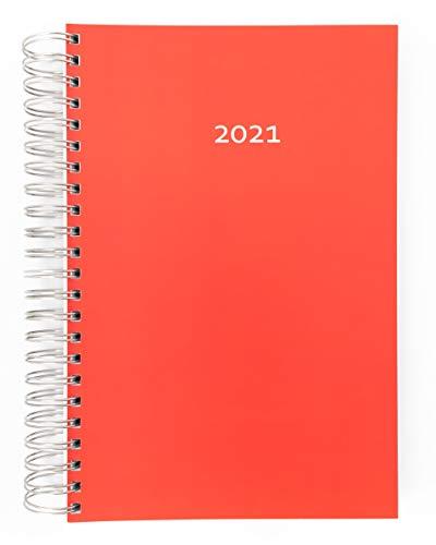 2021 Dicker Kalender – ROT(red) – Spiralbindung – pro Tag eine volle DIN A4 Seite Platz – Tageskalender | Bürokalender | XL Kalender | Terminkalender | Planungsbuch | TageBuch-Kalender