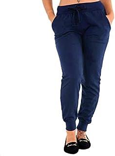 TOOGOO Women Autumn Drawstring Elastic Waist Cotton Stretch Jogger Fitness Pants Sweatpants Casual Yoga Sports Gym Pants Trousers Plus Size Black S