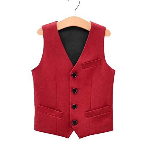 Angelmemory Chaleco formal de esmoquin para niño, para boda, fiesta, caballero, bautizos, trajes formales - rojo - 5-6 años