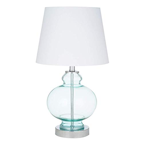 Amazon Brand – Ravenna Home Modern Round Table Lamp With LED Light Bulb - 17.50 Inches, Chrome with Blue Glass