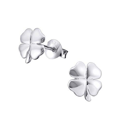 Plata sterling-paire de pendientes de tuerca de trébol de 4hojas
