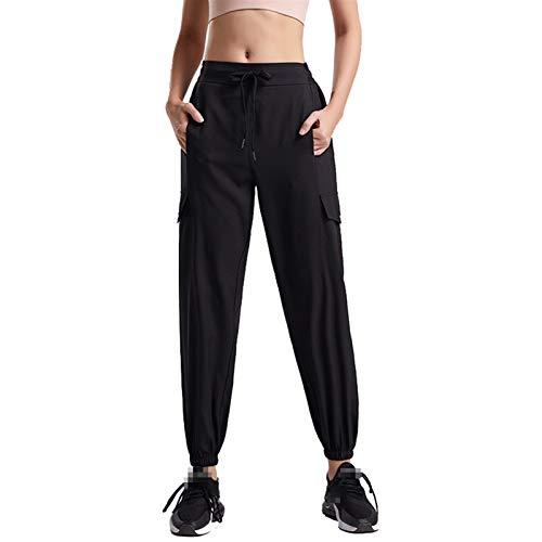TXXT Pantalones de yoga sueltos, pantalones de pierna ancha, pantalones de mujer, pantalones de cintura alta, pantalones de yoga informales (color: negro, tamaño: grande)