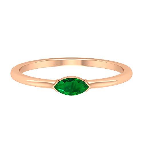 Rosec Jewels 14 quilates oro rosa marquesa Green Emerald