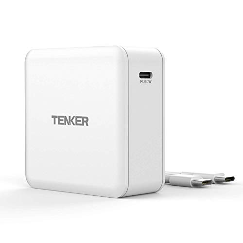 Tenker USB Type-C PD Charger with 60W Power delivery, PowerPort for MacBook Pro/Air, iPad Pro, iPhone Xs/XS Max/XR/X/8/8 Plus, Nintendo Switch, Moto Z, Samsung S9, Mate Book and More (White)
