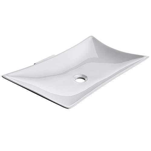 Sogood Aufsatzwaschbecken aus Keramik, weiß inkl. Nano-Versiegelung BTH: 56,5 x 37,5 (+8,5) x11 cm | Waschbecken, Waschschale