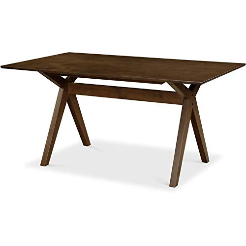 Adore Decor Lukas Solid Wood, Mid-Century Modern Dining Room Furniture Cross-Stretcher Table Base, Brown