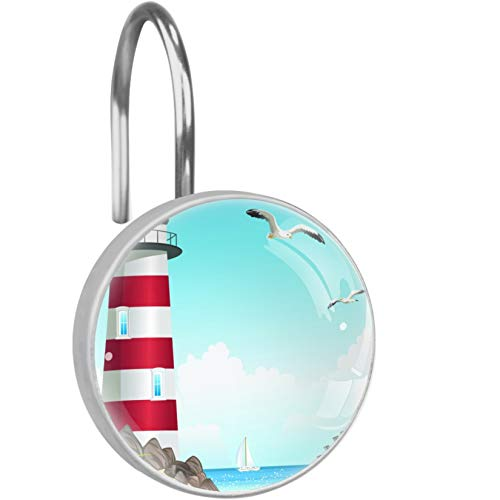 Shower Curtain Hook Lighthouse (18) Set of 12 Decoration Stainless Steel Ring Multi Color Options Shower Curtain Hooks Hangers