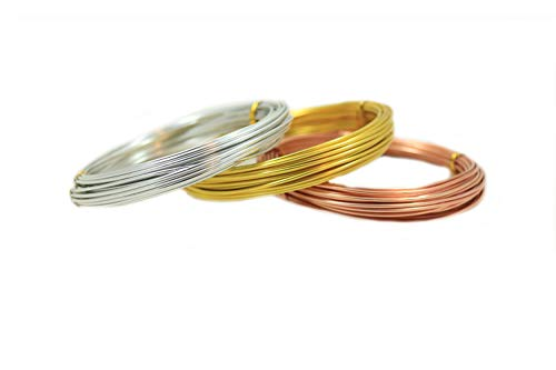 Aluminum Wire (0.8MM 20 Gauge) Silver, Gold, Copper 3 Colors for Jewelry and Sculpture Making (32.8ft Each) from Craft Wire