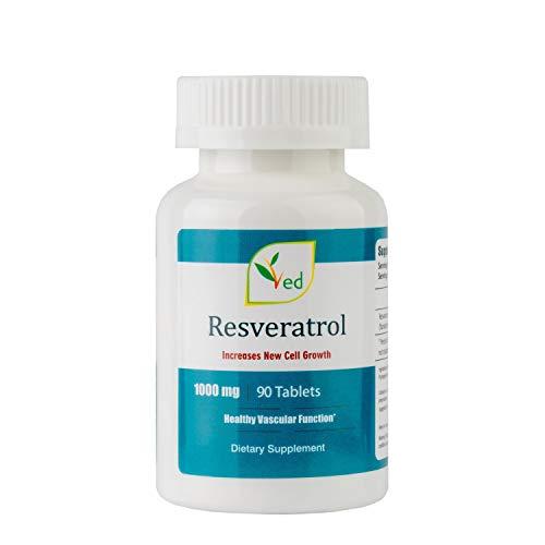 Ved - Pastillas de resveratrol antienvejecimiento, para la salud cardíaca y apoyo inmunológico, complemento antioxidante, 1000 mg, 90 pastillas