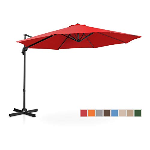 Uniprodo Ampelschirm Uni_Umbrella_2R300RE Gartenschirm (rund, Ø 300 cm, drehbar, rot)