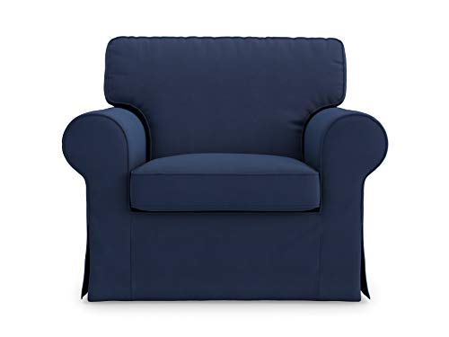 Masters of Covers Funda de Repuesto para Sillón IKEA Ektorp, Hecho a Mano, Juego de 2 Piezas, Cojín y Cuerpo del Sillón, 105 cm x 80 cm x 73 cm (Azul, Algodón)