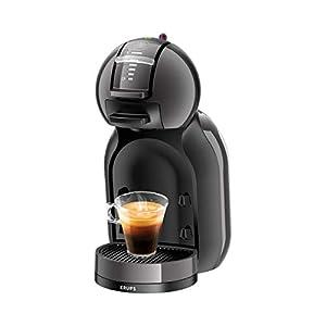 Krups Mini Me KP1208ES - Cafetera de cápsulas Nestlé Dolce Gusto automática, 15 bares de presión, motor 1500 W con depósito de 0,8 L, para todo tipo de bebidas frías y calientes, color negra y gris