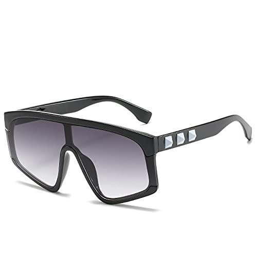 HNGM Gafas de Sol Fashion Square Gafas de Sol Mujeres Big Frame Plano Top Remache Vintage Oversized Sun Gafas de Sol Femenino Mirror Sombras de Gradiente Lente UV400 (Lenses Color : 2 WM2088 C2)