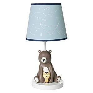 Lambs & Ivy Sierra Sky Blue/Brown Bear Nursery Lamp with Shade & Bulb