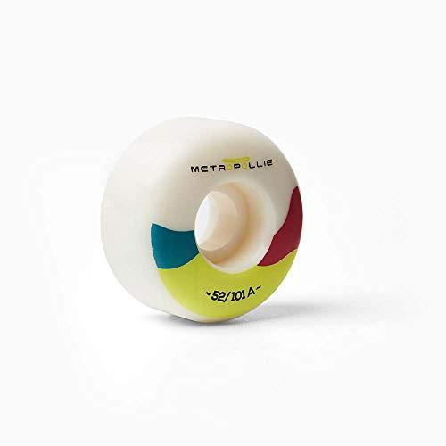 Metropollie 4 Ruedas de Skateboard Blanco y Colores, Ruedas Premium 100% Uretano 52MM diametro 101A dureza, para Niños Niñas Adolescentes Adultos Principiantes, Normal (RUEDASBLANCO52)