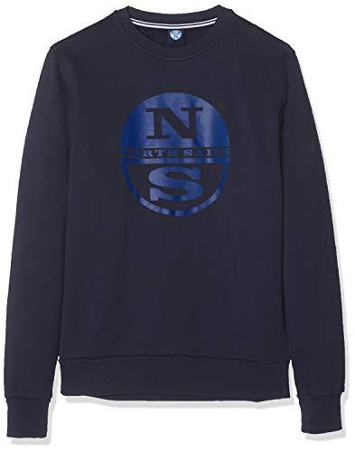 NORTH SAILS Herren Sweatshirt Gebürstet in Navy Blau 100% Baumwolle Entspannte Passform mit Rundhalsausschnitt und Langen Ärmeln - XL