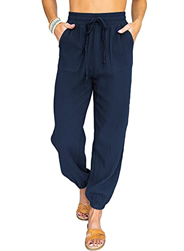 ROSKIKI Summer Women High Waist Casual Track Cuff Regular Long Trendy Jogger Pants Trousers for Women Elastic Waist Chic Style Lounge Pants in Colors Blue Medium