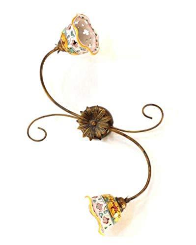 Ilab Plafón de hierro forjado 2 luces con cerámica coll. Giulia, monta 2 bombillas E14 casquillo pequeño de 40 W, ancho: 46 cm, altura: 46 cm, plafón de 2 luces.