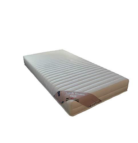 Nuits D'or - Colchón para somieres articulados (Espuma HR 35 kg/m3, Altura 18 cm, Soporte Firme y Down + 2 Almohadas con Memoria de Forma, Valor 178 €, Tela, Blanco, 90x200