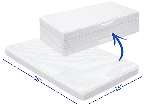 Trifold Pack n Play Mattress, Portable Travel Pack and Play Mattress Pad for Baby Sleeping, Foldable Playard Mattresses, Toddler Playpen Mattress, Mini Crib Mattress Nap Mat, Fitted 27x39 inch