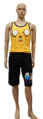 Adventure Time Cartoon Network Men's 2-Piece Sleep Set - Jake Spray Tank Top and Finn Shorts Set (Medium)