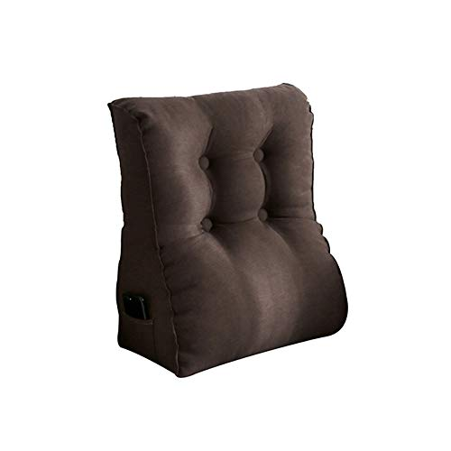 Removable wash Lumbar Support Pillow/Back Cushion,Suitable for Sofas, Beds, Office Seats, Etc,Ergonomic Design for Relieves Couch Sofa Reading Lower Sciatica Pain backache(24'' x 22'') (Brown)
