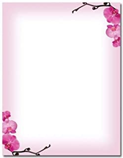 Pink Orchids Letterhead - 100 Sheets