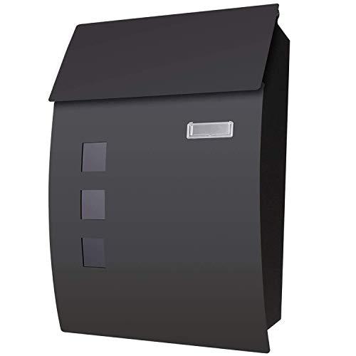 Nictemaw Briefkasten Wandbriefkasten Mit Sichtfenstern,2 Schlüssel,Briefkasten Edelstahl,Pulverbeschichtet Wetterfest,Mit Befestigungsmaterial,Schwarz