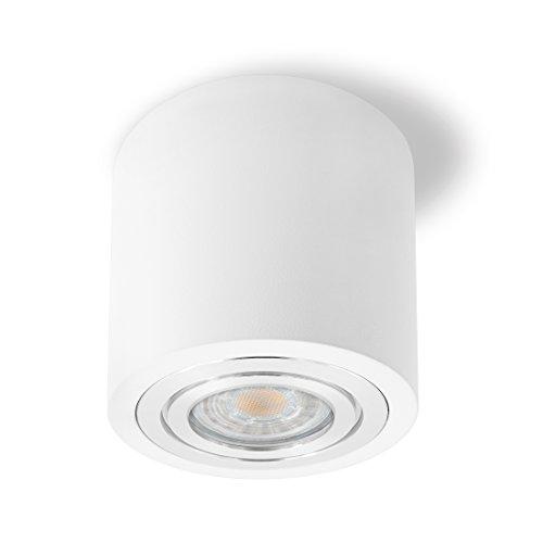 SSC-LUXon® LED Deckenspot Aufbau in weiß & rund - IP44 Wasserschutz für Bad - inkl. LED GU10 Leuchtmittel 6W 230V warmweiß