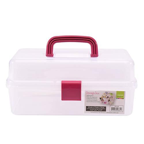Vaessen Creative Aufbewahrungsbox mit Deckel und Tragegriff, 3 Etagen, Sortierbox für Bastel Werkzeuge, Bastelmaterialien, Schmuckzubehör, Nähzubehör oder Andere Kleine Utensilien, 31 x 17 x 15 cm
