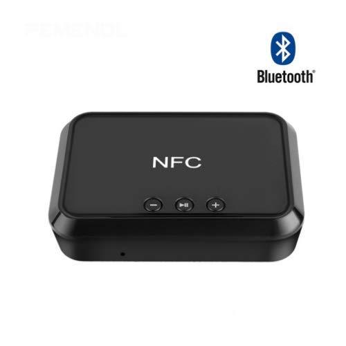 CBTJ Bluetooth-Empfänger NFC-fähiger tragbarer Bluetooth-Audio-Adapter für Musik-Streaming-Soundsystem Bluetooth-Sender für Autoradio 3,5-mm-AUX-Cinch-Eingang