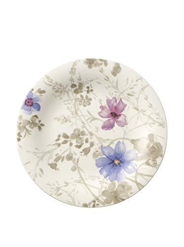 Villeroy & Boch Mariefleur Gris Basic Assiette petit-déjeuner, 21 cm, Porcelaine Premium, Blanc/Multicolore
