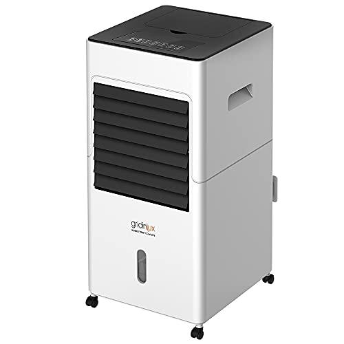 Gridinlux | Aire Acondicionado Portatil Homely TEMP COMPLETE | Ventilador de pie Móvil y Silencioso |Mando a distancia | 65W | Climatizador Frío y Calor | 3 Velocidades