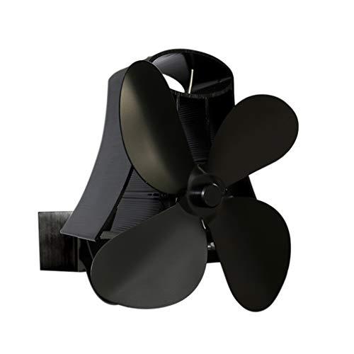 Hothap warmteblazer voor open haard aan de muur met eigen stroomvoorziening, 4-vleugelig aluminium, stil en efficiënt warm voor houtbrandingen in de kamer milieuvriendelijk, veilig zwart