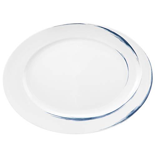 Seltmann 001.745467 Paso Plat ovale en porcelaine Bleu 31,8 cm x 26,4 cm x 3,0 cm