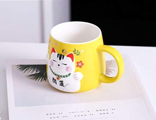 Taza De Cerámica Taza Gato Amarillo Brillante Dibujos Animados Lindo Cuchara Creativa Con Tapa Oficina De Negocios Recuerdo Taza De Café Taza De Leche Regalo Exquisito Tazas Personalizadas Graciosa