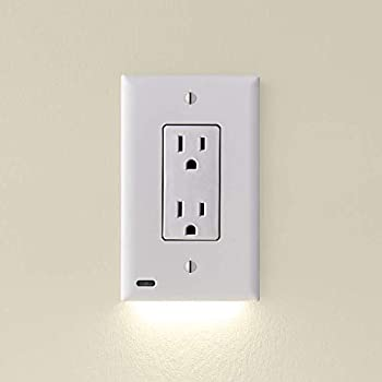 3 Pack - SnapPower GuideLight 2 for Outlets [for Standard Decor Not GFCI outlets] - Night Light - Electrical Outlet Wall Plate with LED Night Lights - Automatic On/Off Sensor -  Décor White