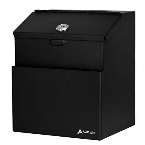 ADIR corp Wall Mountable Steel Suggestion Box with Lock - Donation Box - Collection Box - Ballot Box - Key Drop Box (Black) with 25 Free Suggestion Cards
