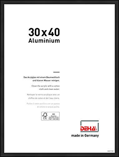 DEHA Aluminium Bilderrahmen Boston, 30x40 cm, Eloxal Schwarz Matt