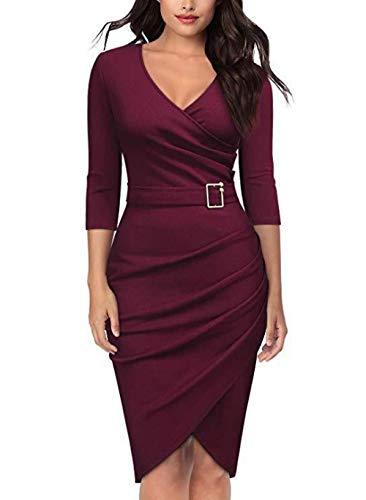 NKSS Vestido De Fiesta De Cena De Oficina Mujer-Vino Tinto_L