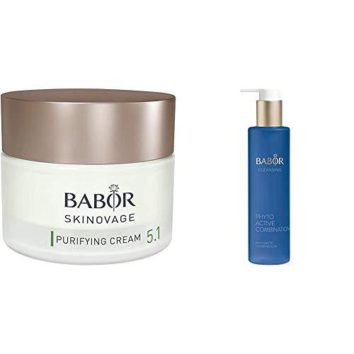 BABOR SKINOVAGE Purifying Gesichtscreme,1er Pack (1 x 50 ml) & CLEANSING Phytoactive Combination, Reinigung mit Pflanzenextrakten, für Mischhaut und ölige Haut, 1x100 ml