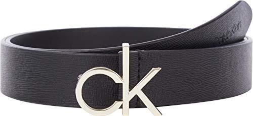 Calvin Klein Damen Logo Belt 30MM Saffiano Grtel, Ck Schwarz, 85 cm