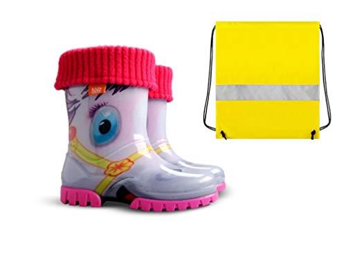 Demar Gummistiefel Kinder Regenstiefel Kinderstiefel gefüttert mit Innensocken Mädchen Jungen + Schuhbeutel Neongelb (24/25)