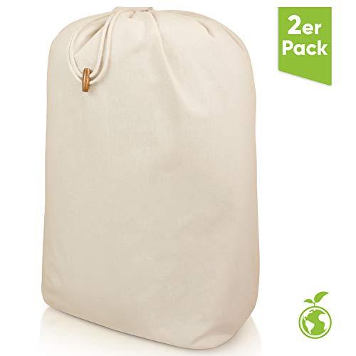Naturstube Wäschesack 2er-Set, EXTRA große & strapazierfähige Wäschebeutel, 100% Baumwolle waschbar und wiederverwendbar - Faltbarer Wäschesammler für Deine Reise, inkl. Einer nachhaltigen Baumspende