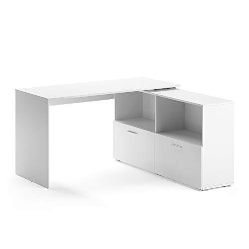 Vicco Eckschreibtisch Flexi Computer Bürotisch PC Schreibtisch Schublade Office (Weiß)