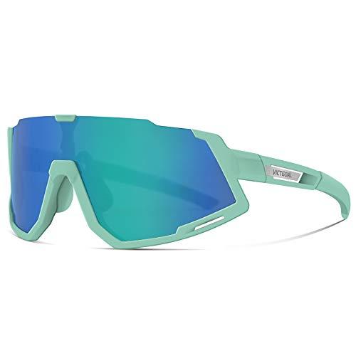 VICTGOAL Fahrradbrille Sportbrille Polarisierte UV400 Schutz mit 3 Wechselgläser Leichte Sonnenbrille für Herren Damen zum Radfahren Wadern Laufen (Cyan)