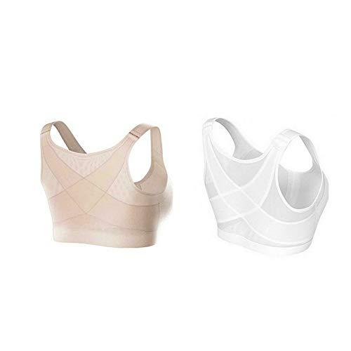 Qishun Womens Back Support Posture Corrector Wireless Bra Adjustable Front ClosureComplete Comfort Sport Yoga Sleep Bra no Padded WhiteSkin Color X Large